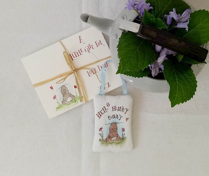 'Hello Hunny Bunny' Fabric Hanging With Personalised Gift Envelope Photo 0