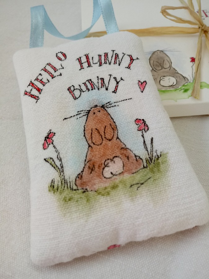 'Hello Hunny Bunny' Fabric Hanging With Personalised Gift Envelope Photo 3